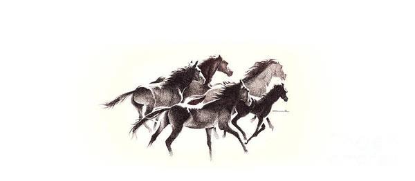 Digital Art - Horses4 Mug by Mamoun Sakkal