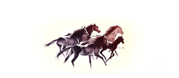 Digital Art - Horses5 Mug by Mamoun Sakkal
