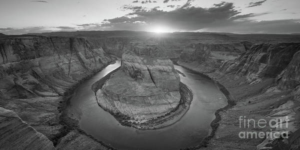 Photograph - Horseshoe Bend Sunset Panorama Bw by Michael Ver Sprill