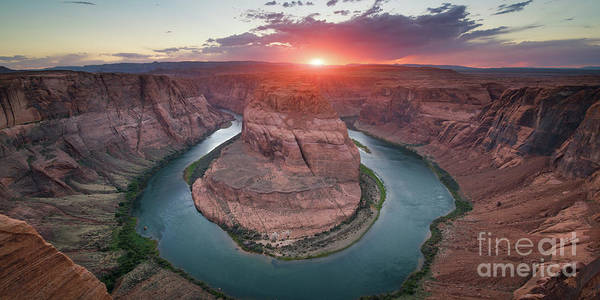 Photograph - Horseshoe Bend Sunset Panorama by Michael Ver Sprill