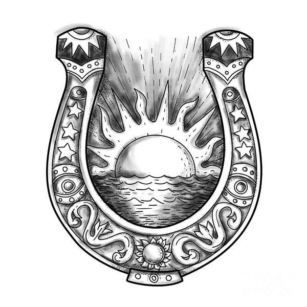 Horseshoe Digital Art - Horseshoe Sun And Sea Tattoo by Aloysius Patrimonio