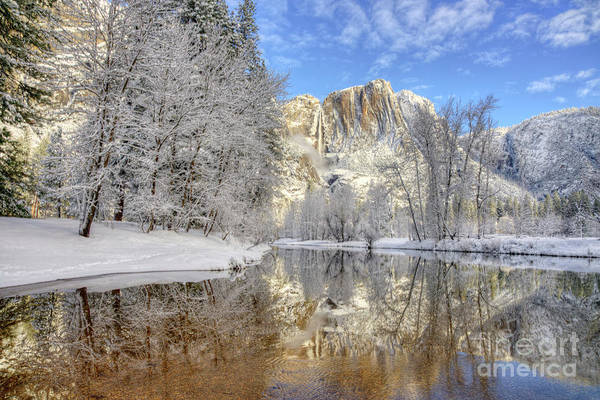 Photograph - Horsetail Fall Reflections Winter Yosemite National Park by Wayne Moran