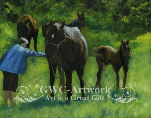 Wall Art - Painting - Horsing Aaround by Gloria Condon