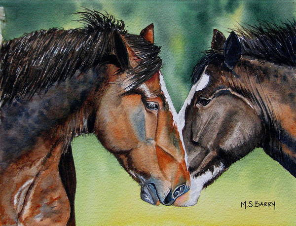 Wall Art - Painting - Horsing Around by Maria Barry
