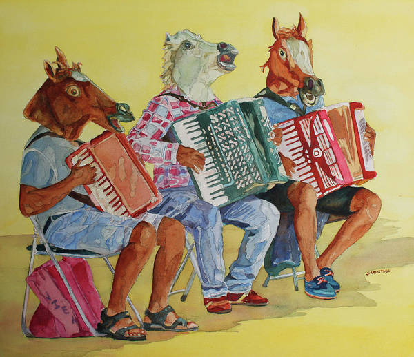 Busker Wall Art - Painting - Horsing Around With Accordions by Jenny Armitage