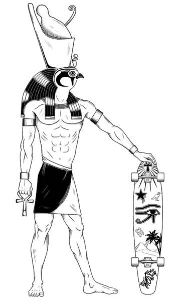 Inking Wall Art - Drawing - Horus Reloaded by Fnoul