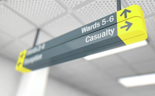 Doorway Digital Art - Hospital Directional Sign Casualty by Allan Swart