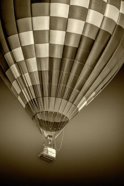 Photograph - Hot Air Balloon And Bucket In Sepia Tone by Randall Nyhof