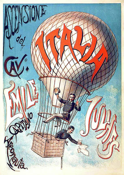 Wall Art - Painting - Hot Air Balloon Italy Tour, Vintage Travel Poster by Long Shot