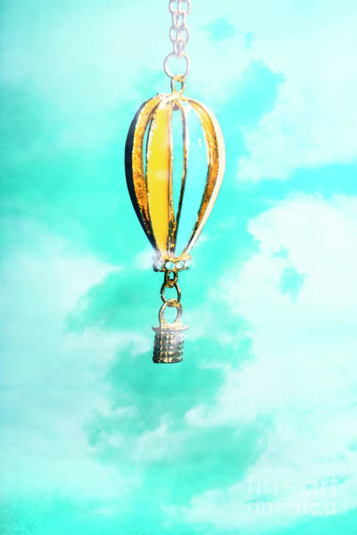 Air Balloon Wall Art - Photograph - Hot Air Balloon Pendant Over Cloudy Background by Jorgo Photography - Wall Art Gallery