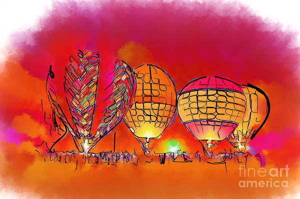 Balloon Festival Digital Art - Hot Air Balloons In Red by Kirt Tisdale