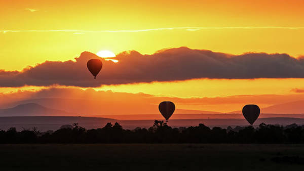 Wall Art - Photograph - Hot Air Balloons In Surise Orange Africa Sky by Susan Schmitz