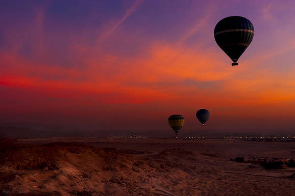Photograph - Hot Air Balloons Over Egypt's Valley Of The Kings At Sunrise by Mark E Tisdale