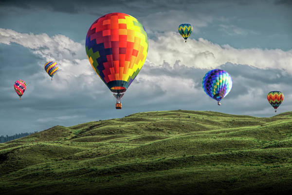 Photograph - Hot Air Balloons Over Green Fields by Randall Nyhof