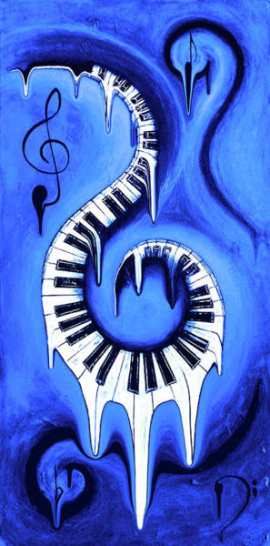 Hallway Mixed Media - Hot Blue - Swirling Piano Keys - Music In Motion by Wayne Cantrell