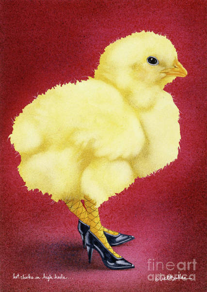 Chicken Painting - Hot Chicks In High Heels... by Will Bullas