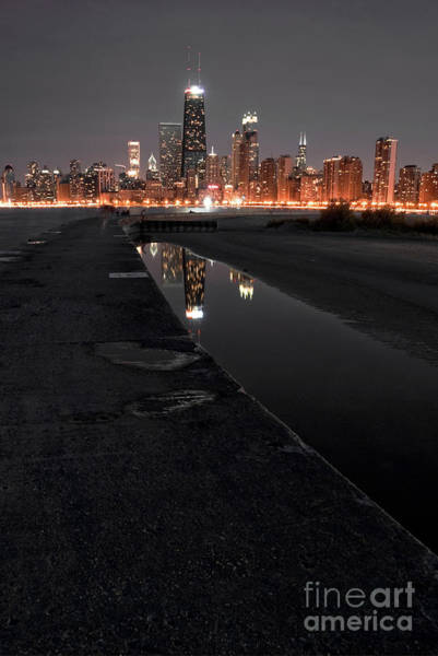 Beach City Wall Art - Photograph - Chicago Hot City At Night by Bruno Passigatti