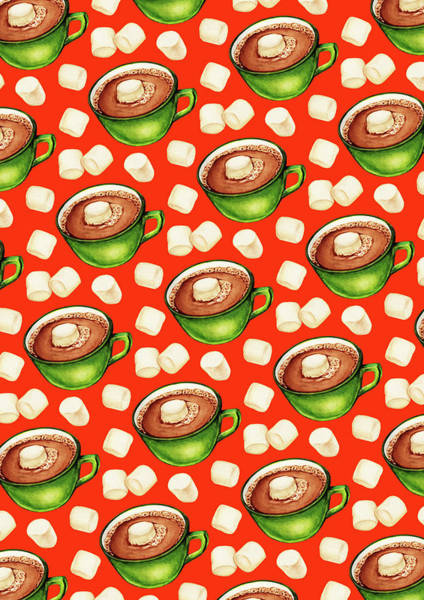 Kitsch Painting - Hot Cocoa Pattern by Kelly Gilleran