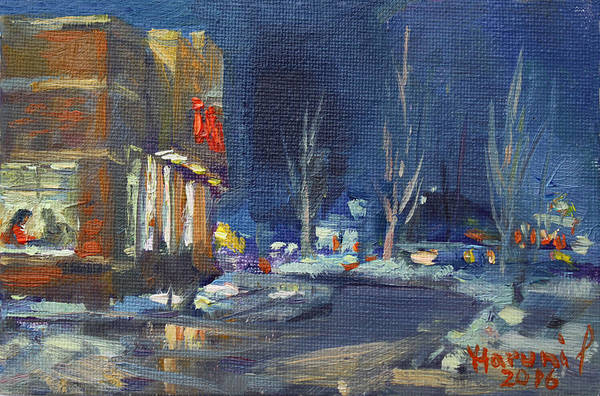 Wall Art - Painting - Hot Coffee In Cold Winter At Tim's With Viola by Ylli Haruni