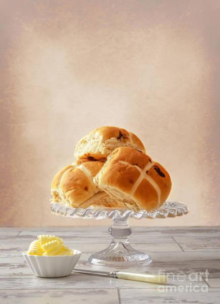 Buns Photograph - Hot Cross Buns With Butter by Amanda Elwell