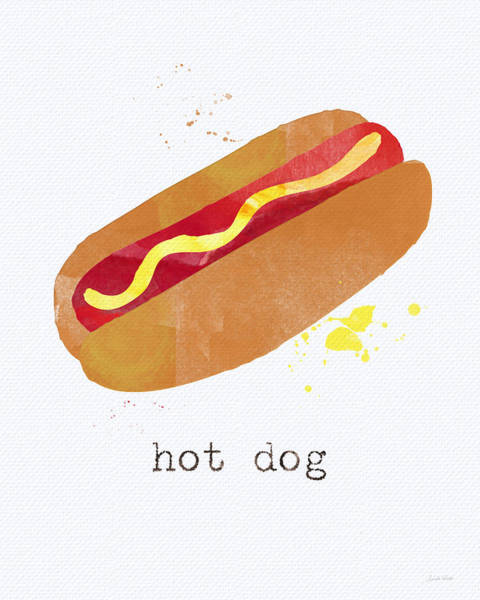 Bbq Painting - Hot Dog by Linda Woods