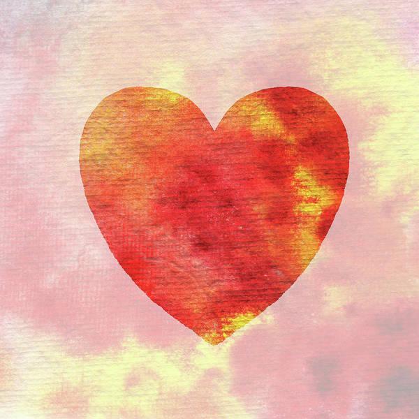 Painting - Hot Hot Heart Watercolor Silhouette  by Irina Sztukowski