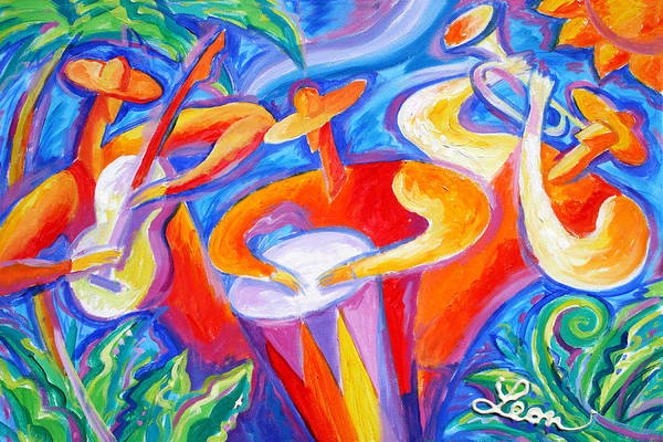 Wall Art - Painting - Hot Latin Jazz by Leon Zernitsky
