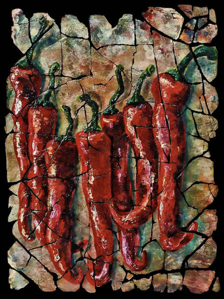 Painting - Hot Pepper Fresco by OLena Art - Lena Owens