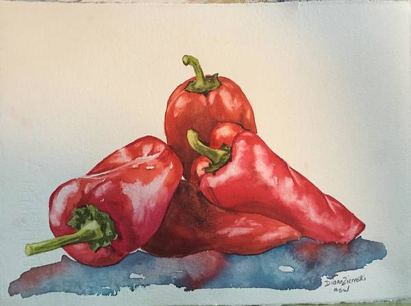 Painting - Hot Peppers by Diane Ziemski