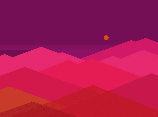 Digital Art - Hot Pink And Purple Landscape by Val Arie