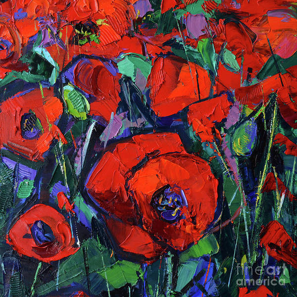 Wall Art - Painting - Hot Poppies Contemporary Impressionist Palette Knife Oil Painting by Mona Edulesco