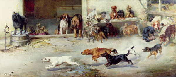 Springer Spaniel Painting - Hot Pursuit by William Henry Hamilton Trood