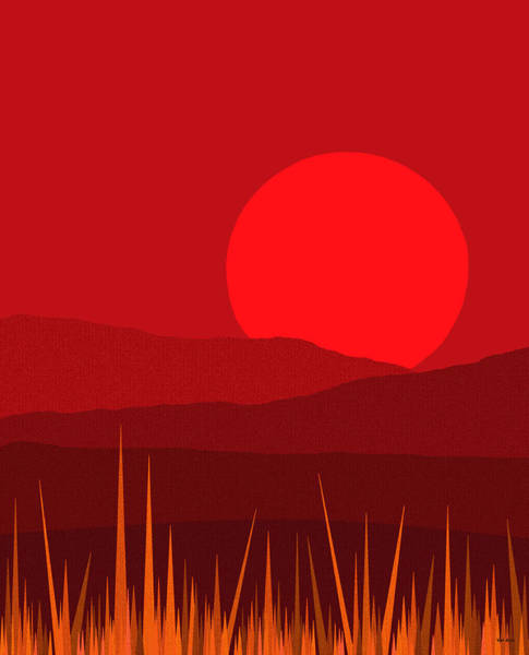 Digital Art - Hot Red Sun by Val Arie