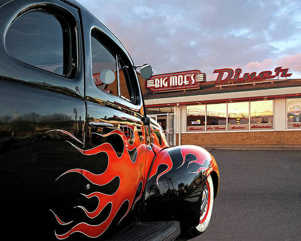 Street Rods Photograph - Hot Rod At The Diner At Sunset by Gill Billington