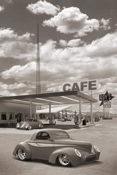 Wall Art - Photograph - Hot Rods At Roy's Gas Station Sepia by Mike McGlothlen