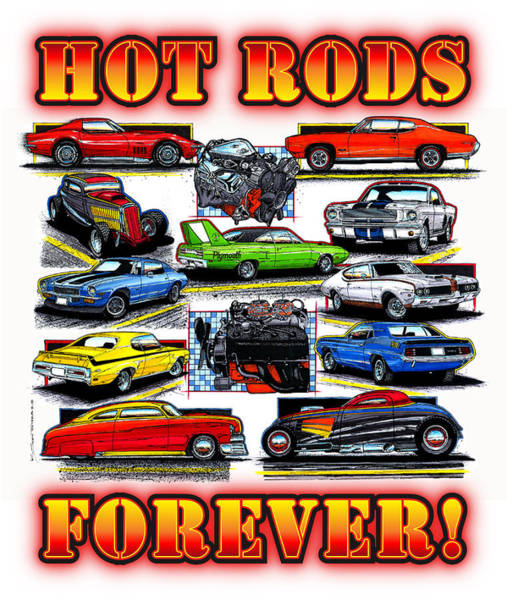 Digital Art - Hot Rods Forever by K Scott Teeters