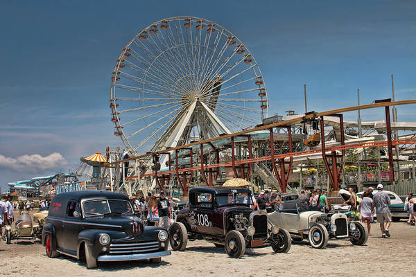 Photograph - Hot Rods On The Beach by Kristia Adams