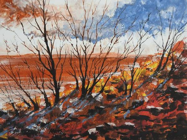 Flagstaff Painting - Hot Sand, Gouache Painting by David K Myers