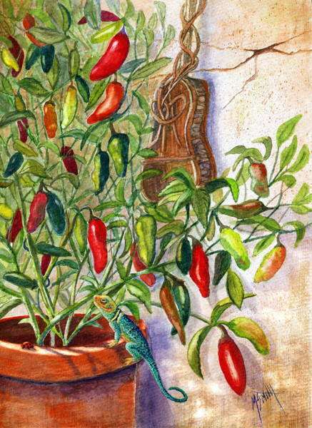 Adobe Walls Painting - Hot Sauce On The Vine by Marilyn Smith