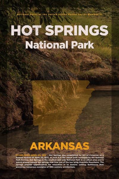 Arkansas Mixed Media - Hot Springs National Park In Arkansas Travel Poster Series Of National Parks Number 31 by Design Turnpike