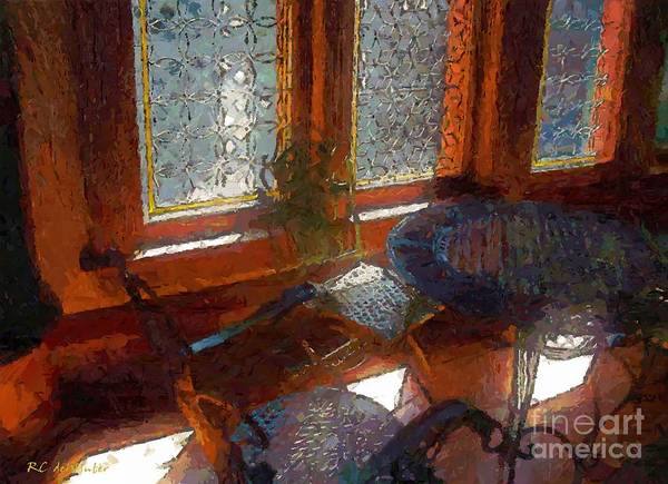 Leaded Glass Painting - Hot Sun On Wrought Iron by RC DeWinter