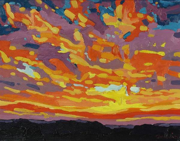 Watershed Painting - Hot Sunset by Phil Chadwick