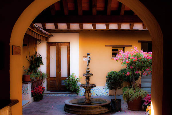 Photograph - Hotel Azucenas Courtyard by Lee Santa