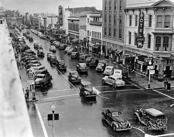 Photograph - Hotel Jeffery, Main Street, Salinas 1945 by California Views Archives Mr Pat Hathaway Archives