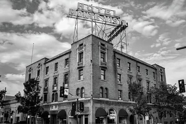 Flagstaff Photograph - Hotel Monte Vista - Flagstaff - Arizona - Black And White by Gregory Ballos