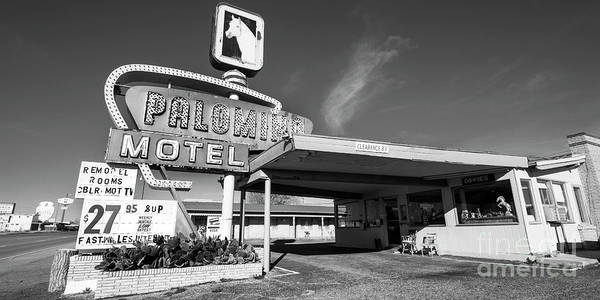 Palomino Photograph - Hotel Palomino On Route 66 In Black And White by Twenty Two North Photography