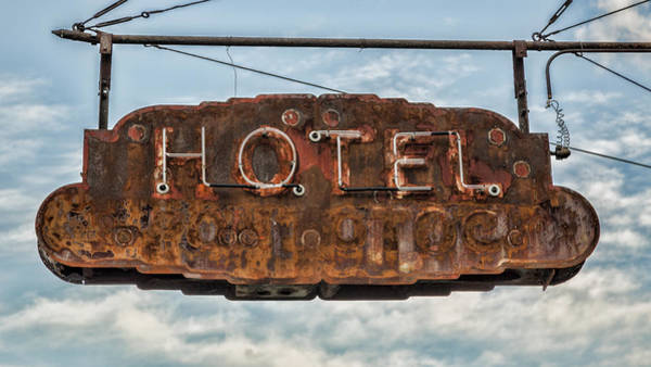 Vintage Neon Sign Photograph - Hotel Pontotoc by Stephen Stookey