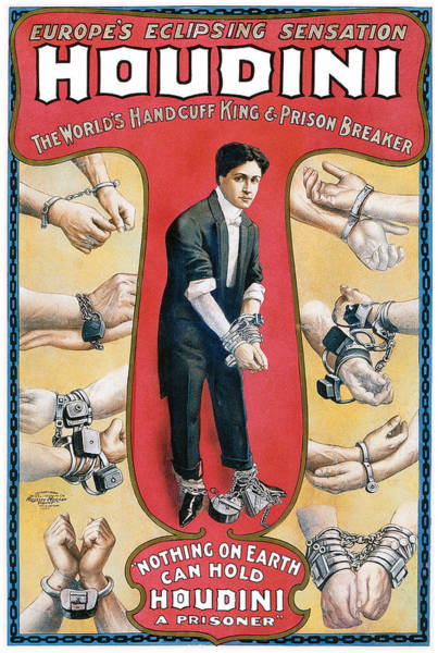 Tricks Painting - Houdini The Worlds Handcuff King by Unknown