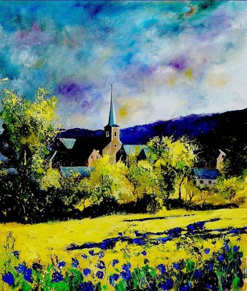 Blue Cornflower Painting - Hour Village Belgium by Pol Ledent