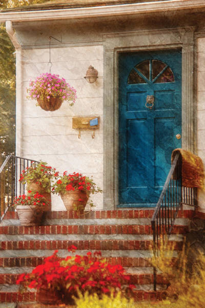 Photograph - House - Blue Front Door by Mike Savad